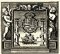 Símbolo alegórico de los Reynos de Indias, Tierra Firme e Islas de la Mar Océana (1681) Portada Leyes de Indias - AHG.jpg