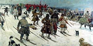 Ski warfare - Muscovite campaign against the Lithuanians, a painting by Sergei Ivanov (1903).