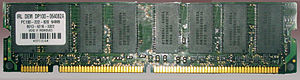 Synchronous dynamic random-access memory - Eight SDRAM ICs on a PC100 DIMM package.