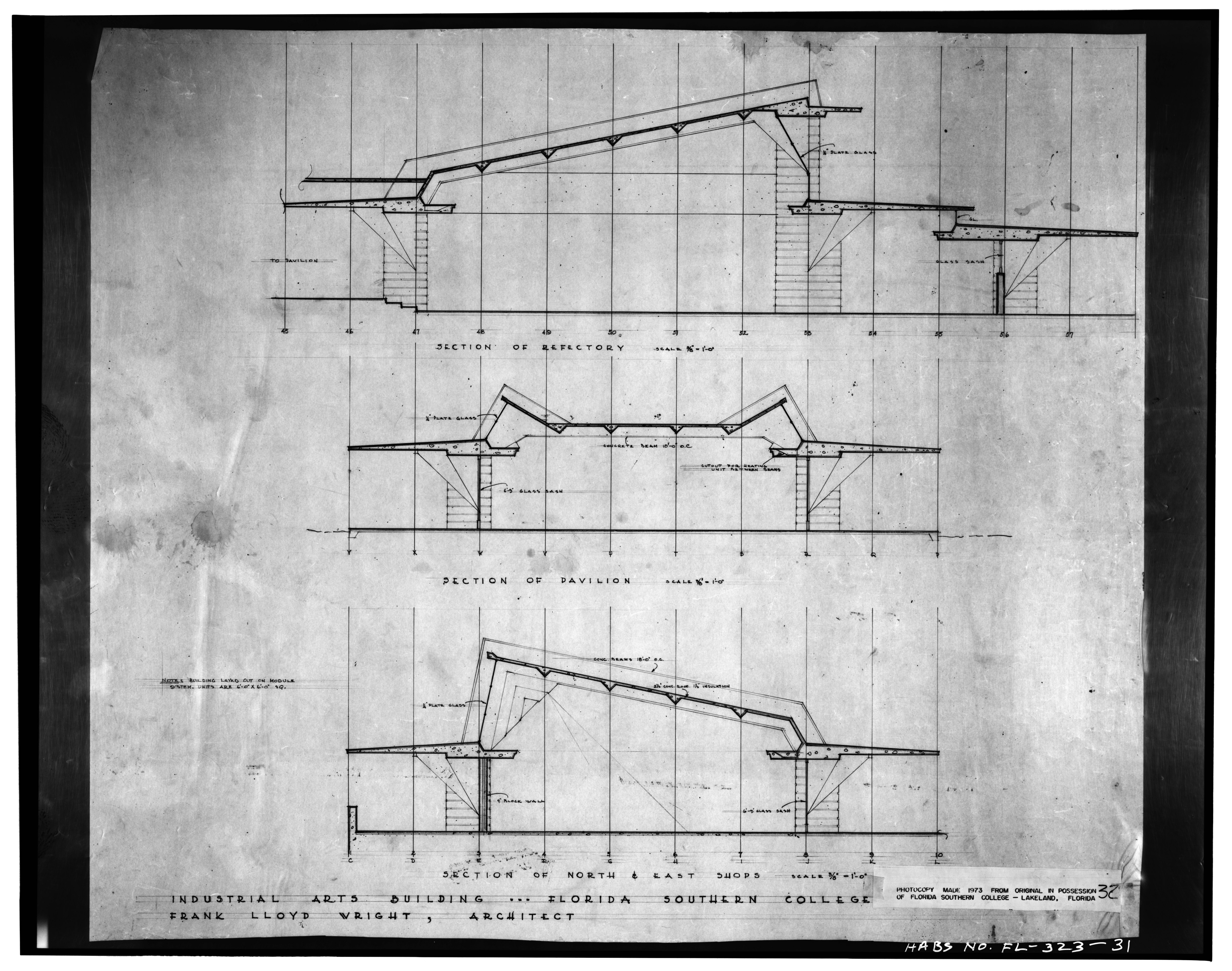 File section of refectory section of pavilion and for Florida blueprint