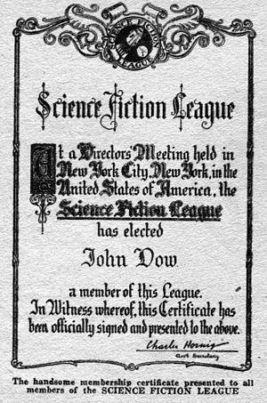 Science Fiction League - sample membership certificate