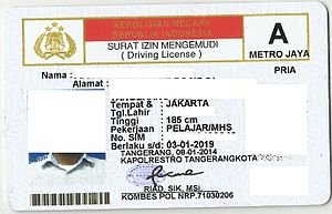 "Driver's license - Front side of the Indonesian Driving License card ""A"" class for driving normal 4 wheel car/jeep vehicle"