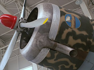 Savoia-Marchetti SM.79 - Close-up view of the SM.79's nose-mounted center engine
