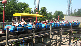Gerstlauer - Gerstlauer designed wooden roller coaster train on Son of Beast at Kings Island