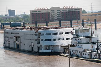 Streckfus Steamers - Admiral, minus her upper decks, is towed from St. Louis to be dismantled on July 19, 2011