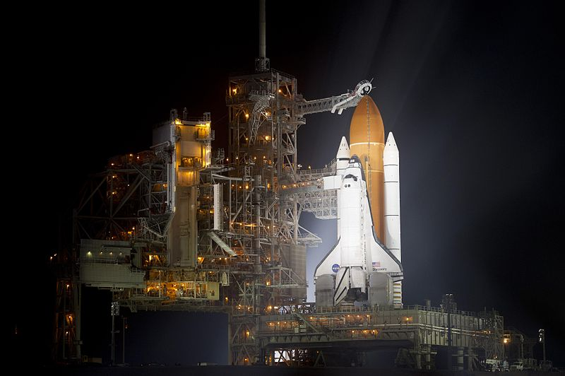 File:STS 133 Discovery KSC After RSS Roll Back.jpg
