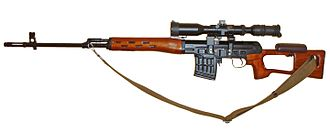 Dragunov sniper rifle - SVD rifle featuring a wooden handguard/gas tube cover and skeletonized stock used before the change to synthetic black furniture.