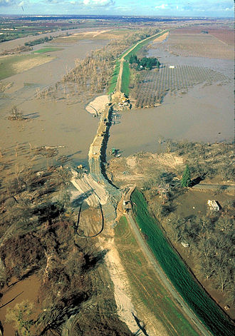 Levee - Broken levee on the Sacramento River