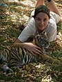 Safari Zoo Camp attendee with Siberian tiger cub (Panthera tigris altaica), Orono, Ontario - 20100324.jpg