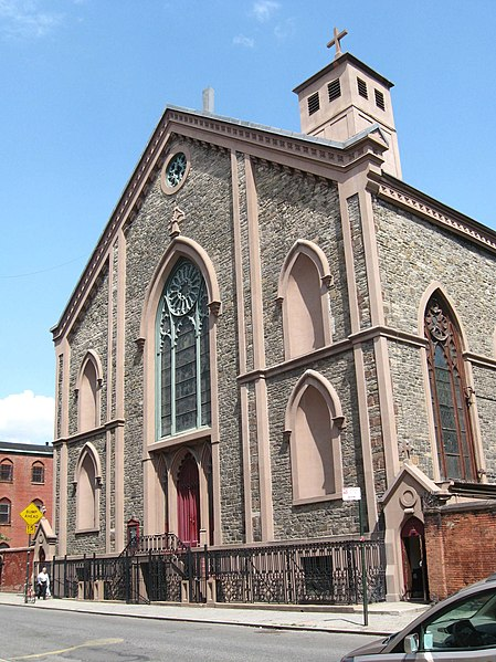 Looking northeast at the front (Mulberry Street) side of St. Patrick's Old Cathedral in Nolita neighborhood