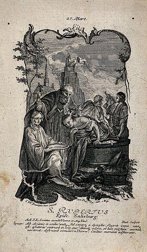 Rupert of Salzburg - Image: Saint Rupert of Salzburg. Etching by Bock after J.W. Baumgar Wellcome V0033335