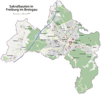 breisgau karte Liste der Sakralbauten in Freiburg im Breisgau – Wikipedia breisgau karte