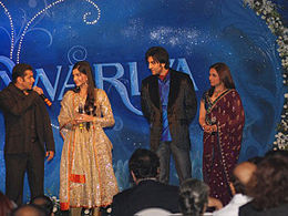 Salman Khan, Sonam Kapoor, Ranbir Kapoor and Rani Mukerji stand on stage