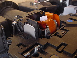LCD projector - Typical 3LCDs (RGB) projector showing separated polarizers