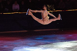 Split jumps - Sasha Cohen performs a Russian split jump.