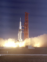The SA-9 (Saturn I Block II), the eighth Saturn I flight, lifted off on February 16, 1965. This was the first Saturn with an operational payload, the Pegasus I meteoroid detection satellite.