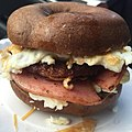 Sausage Taylor Ham Egg Cheese on Pumpernickel Bagel,jpg.jpg