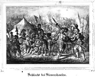 Battle of Sievershausen - Schlacht bei Sievershausen, 19th century lithography