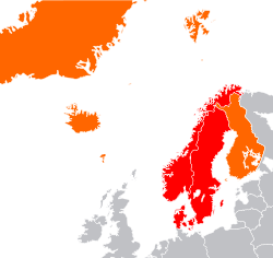 Nordic countries (orange and red)    Scandinavia (red)