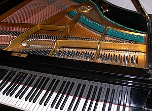 Piano history and musical performance - The interior of a modern grand. The sturdy metal frame, thick multiple strings, and cross-stringing all can be seen.
