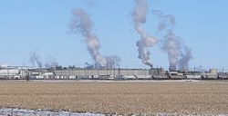 Cargill beef-processing plant at western edge of Schuyler