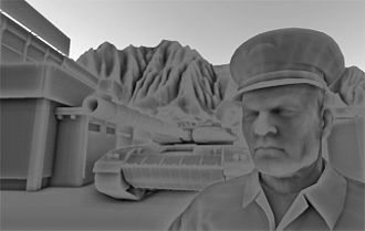 Screen space ambient occlusion - SSAO component of a typical game scene