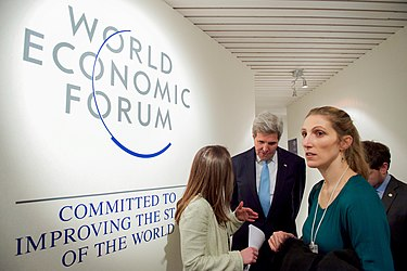 Secretary Kerry, With His Daughter Vanessa, is Briefed by State Department Senior Adviser Ballou-Aares Before Addressing the Young Global Leaders Forum at the World Economic Forum in Davos (24413222312).jpg