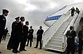 Secretary of Defense Robert M. Gates and his wife Becky arrive at the Boryspil International Airport in Kiev, Ukraine, Oct. 21, 2007 071021-D-LB417-001.jpg