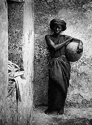 Slavery in Somalia - A Bantu slave woman in Mogadishu (1882–1883).