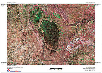 Black Hills - Satellite image with shaded relief map of Black Hills in west South Dakota