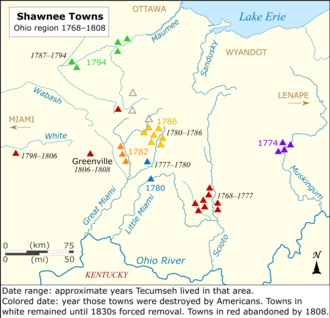 Shawnees retreat further from the Ohio River as towns are destroyed in American raids.