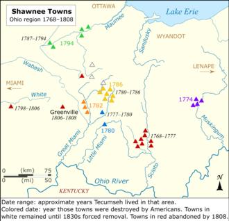 Gli Shawnee si ritirano ulteriormente dal fiume Ohio mentre le città vengono distrutte dalle incursioni americane.