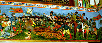 Shaki, Azerbaijan - Battle scene miniature on the wall of Khan's Palace of Shaki