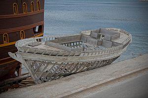 Frame (nautical) - Ship frames visible in an old wooden ship skeleton; Omiš, Feb 20, 2012
