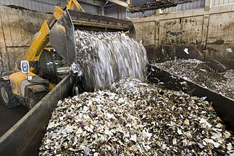 Waste - Solid waste being shredded