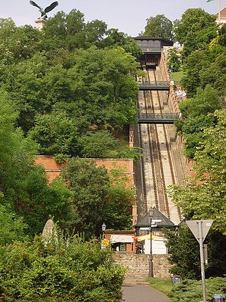 Budapest Castle Hill Funicular - Looking up the line, showing the distinctive foot bridges