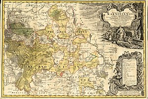 Duchy of Krnov - Silesian principality of Krnov, 1736 map