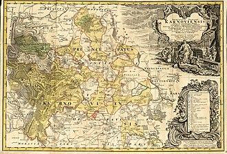 Duchy of Krnov - Silesian principality of Krnov, 1736 map