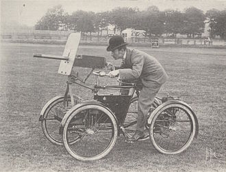 Armoured fighting vehicle - F.R. Simms' Motor Scout, built in 1898 as an armed car