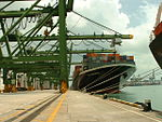 The NYK Andromeda berthed in the Port of Singapore، 2005