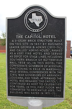 Site of the capitol hotel, marshall, texas historical marker (7206492458)