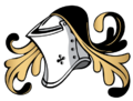 Closed or tilting helm, used by medieval knights, also adopted by English esquires and gentlemen, as well as on burgher arms