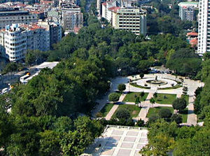 Gezi Park protests - Gezi Park as seen from the Marmara Hotel on Taksim Square.
