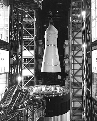 Skylab Rescue - The Skylab Rescue CSM is removed from its Saturn IB Launch vehicle in the Vehicle Assembly Building, following the successful recovery of Skylab 4.