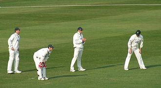 Fielding (cricket) - A wicket-keeper (bending down) and three slips wait for the next ball. The batsman – out of shot – is a left-hander.