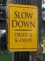 Slow down sign, Reed College, Portland, Oregon (2013).JPG