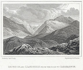 Snowdon and Llanberris from the road to Caernarvon