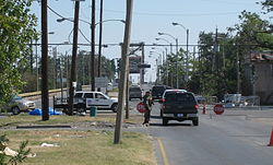 Checkpoint in the Ninth Ward at the Industrial Canal. Only residents were allowed in to examine and salvage from their property during daylight. October 25, 2005.