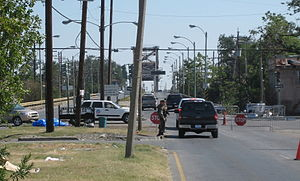 Effects of Hurricane Katrina in New Orleans - Checkpoint in the Ninth Ward at the Industrial Canal. Residents were allowed in to examine and salvage from their property during daylight. October 25, 2005.