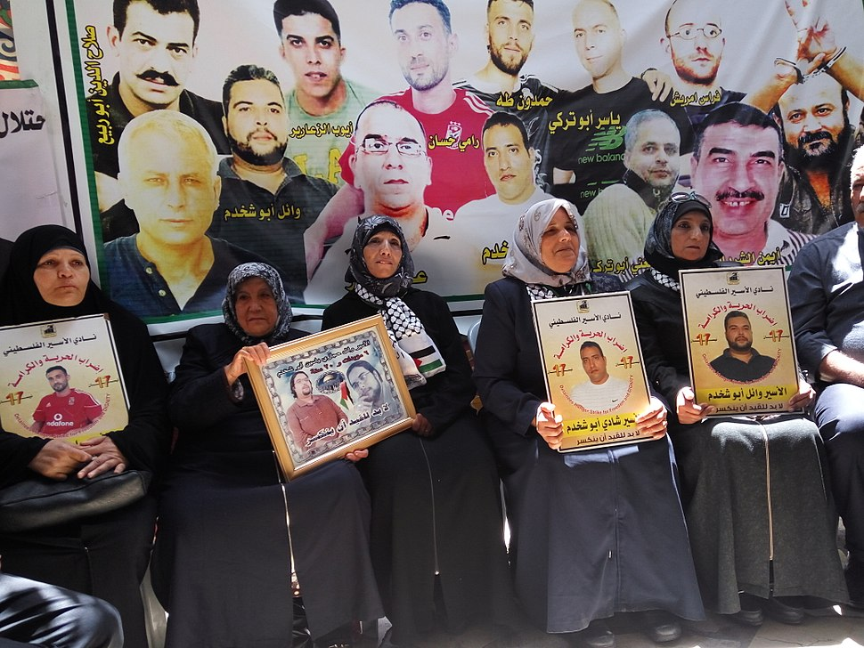Solidarity tant with hunger strikers palestinians prisioners in Hebron May 2017